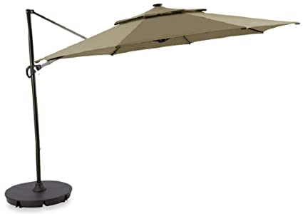 Destination Summer Outdoor Patio Cantilever Umbrella 11 Foot Round Canopy With Solor Powered Lights Includes Base Stand And Storage Cover Mocha