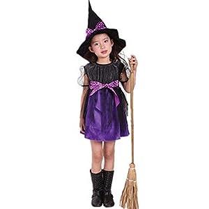 Costume Strega Bambina Ragazze Halloween Vestito con Cappello Bambino Strega Costume Abito Tutu Costume di Halloween Abbigliamento Costume Partito Tuta Regalo Vestiti Abiti da Festa Abito 9 spesavip