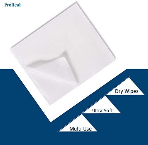 Disposable Dry Wipes, 100 Pack – Ultra Soft Non-Moistened Cleansing Cloths for Adults, Incontinence, Baby Care, Makeup Removal – Hospital Grade, Durable, Absorbent – by ProHeal