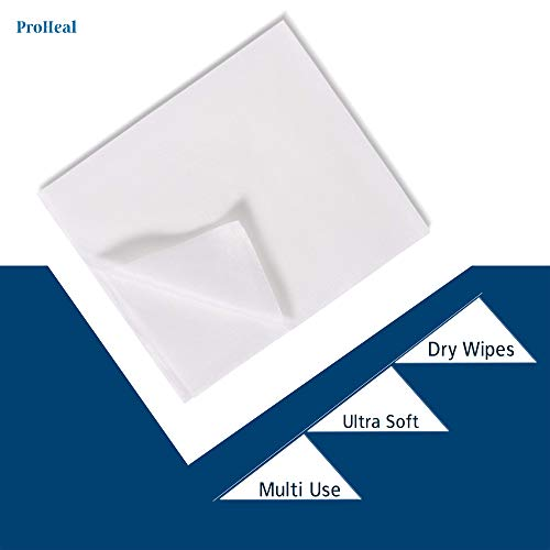 Disposable Dry Wipes, 100 Pack - Ultra Soft Non-Moistened Cleansing Cloths for Adults, Incontinence, Baby Care, Makeup Removal - Hospital Grade, Durable, Absorbent - by ProHeal