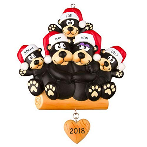 DIBSIES Personalization Station Personalized Huggable Black Bear Family Christmas Ornament (Family of 5)