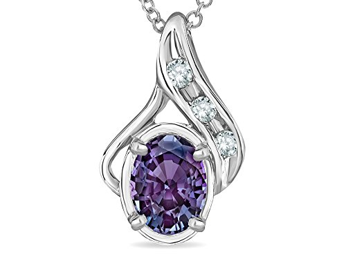 Slide Alexandrite (Star K Oval 7x5mm Simulated Alexandrite Pendant Necklace 10 kt White Gold)