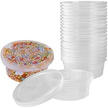 0602d027507d Slime Containers for Slime Supplies - Plastic Container for Slime Foam Ball  Storage Containers with Lids for 45g Slimes (4.5oz) by YRYM HT