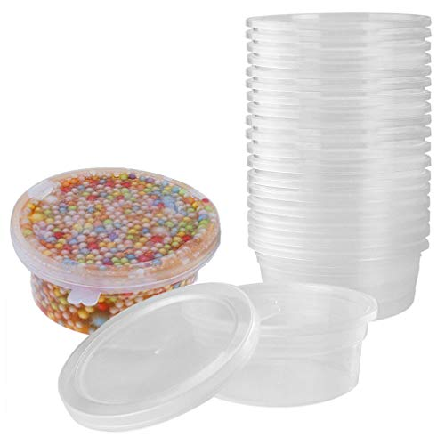 (Slime Containers for Slime Supplies - Plastic Container for Slime Foam Ball Storage Containers with Lids for 45g Slimes (4.5oz) by YRYM HT)
