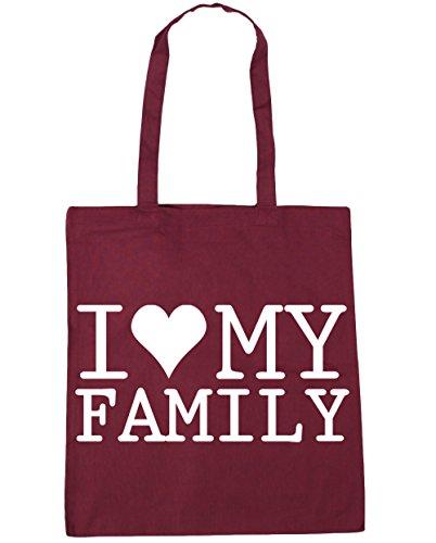 HippoWarehouse I Love My Family Tote Shopping Gym Beach Bag 42cm x38cm, 10 litres