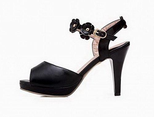 Voguezone009 De Femmes Pu Bout Ouvert Talons Hauts Sandales Solides Noir