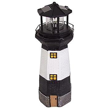 Maritime Gartendeko solar leuchtturm 38cm mit rotierendem led licht maritime gartendeko