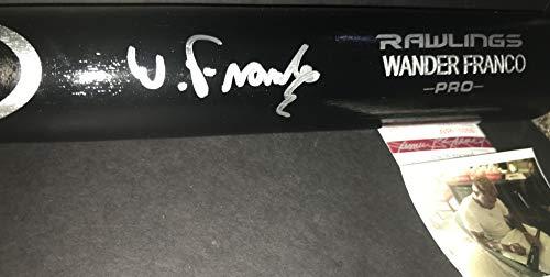Wander Franco Tampa Bay Rays Autographed Signed Black Baseball Bat JSA WITNESS COA