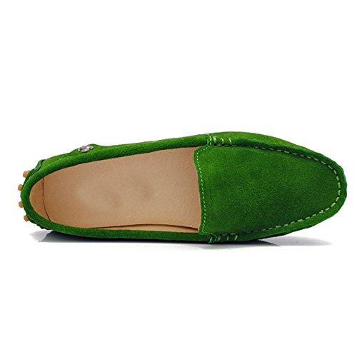 Minishion TYB9601 Womens Round Toe Loafers Boat Shoes Ballet Flats Loafers Dark Green 1jBxM13Kyv