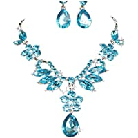 Challyhope 2017 New Charm Prom Wedding Bridal Jewelry Crystal Rhinestone Necklace Earring Set (Blue)
