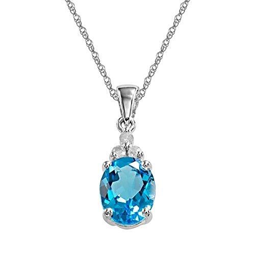 NDG Lab Created Semi Precious Genuine Stone Solitaire Pendant Chain Necklace (BLUE TOPAZ) ()