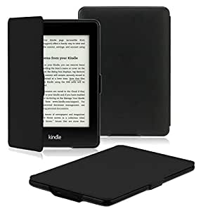 OMOTON Kindle Paperwhite Case Cover - The Thinnest Lightest PU Leather Smart Cover Kindle Paperwhite fit for All Version up to 2017 (Will not fit All Paperwhite 10th Generation 2018), Black