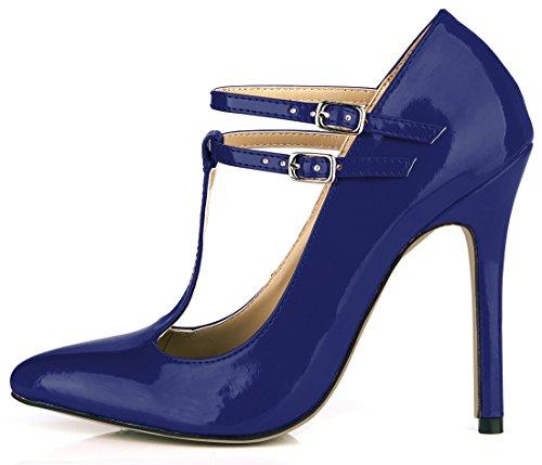 CHMILE CHAU Damenschuhe-Spitzen Pumps Stiletto-Dünne Fersen-Hoher Absatzschuhe-Sexy-Modisch-Abiball-Brautschuhe-Abendschuhe-T-Spange Blau-B