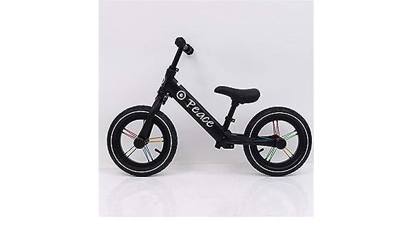 Bicicleta De Equilibrio Para Niños Equilibrar bicicleta para niños Deportes ligeros 12 pulgadas Sin pedal Bicicleta con manillar ajustable y asiento Caminar para niños pequeños de 2 a 7 años de edad: