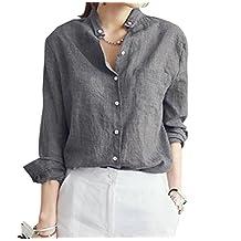 Lummet Womens Flax Loose linen Plus Proket Long Sleeves Button Down Shirt Blouse