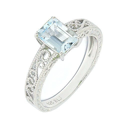 Filigree Sterling Silver Emerald Cut Natural Gemstone Statement Ring (aquamarine, 7)