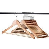 Home-it (20 Pack Natural Wood Hangers - Solid Wood Clothes Hangers - Coat Hanger Wooden Hangers