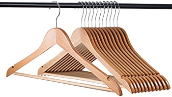24 Pk. Home-it Natural Wood Pack Solid Wood Clothes Hangers