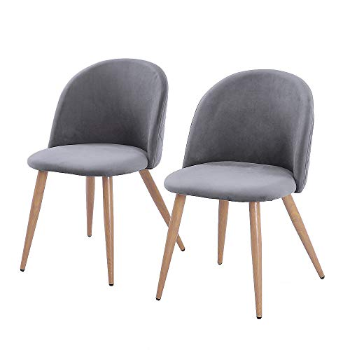 2pcs Modern Soft-clad Dining Chair Gray Mid Century Modern Style Dining Chairs Pre Assembled Indoor Chair Armless Classic Shell for Living Room