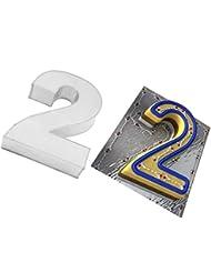 EURO TINS Large Number Two 2 Wedding Birthday Anniversary Baking Cake Tin 14 X 10 - Eurotins