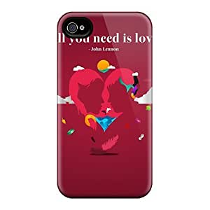 For Cynthaskey Iphone Protective Case, High Quality For Iphone 4/4s All You Need Is Love Skin Case Cover