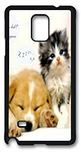 Custom Samsung Galaxy note 4 Case,The cat and dog TPU Black Samsung Galaxy note 4 Cases