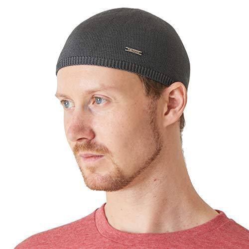 Knit 100% Silk - CHARM Mens 100% Silk Skull Cap - Kufi Beanie Hat Summer Snug Tight Helmet Beany Wear Gray