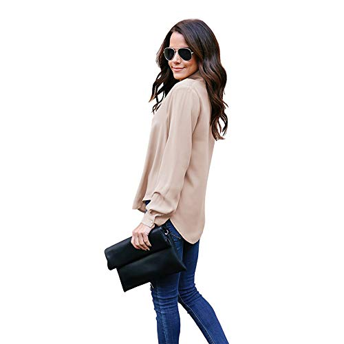 Poche Manches Femme Casual Longues avec col Blouses Capuche Femme Blouse v Cravate Kaki en Solide Soie Chemise Sweat Chemisier Pull Top De Travail POTTOA Femme Mousseline Tops wPSqxYU7