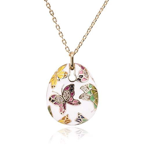 Olsen Twins Colorful Cloisonne Enamel Gold Butterfly Pendant Necklace for Women