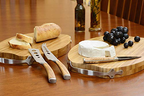 La Cote Olive Wood Cheese Knives Set Servers Accessories (3 Piece Cheese Knife Set In Bamboo box) by La Cote Homeware (Image #4)