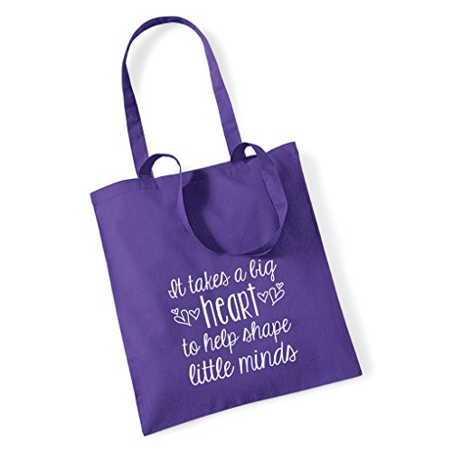 Bag Tote Stickers Little Purple A Shape Big Help Pretty Little To Heart It Takes Minds gOaaw7