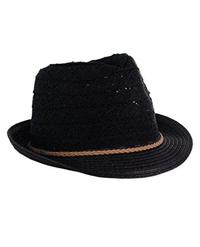 - C.C Children's Brown Braided Trim Spring Summer Cotton Lace Vented Fedora Hat, Black