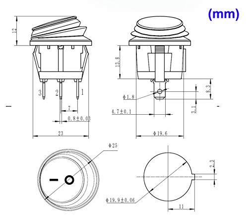 3 Pin 2 Posici/ón ON//Off SPST Gebildet 6 Piezas 12V//20A Impermeable Interruptor Basculante Redondo con LED Rojo Snap-In Latching Auto Boton Interruptor para Coche Motocicleta Bote Marina