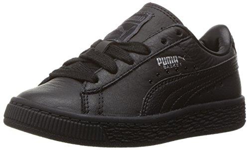 6a0aa39f0f301 PUMA Kids' Basket Classic L BTS PS Running Shoe, Black Silver, 1 M US  Little Kid