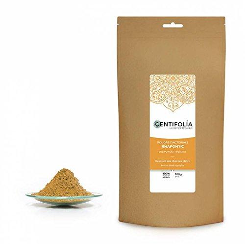 CENTIFOLIA - Rhapontic Rhubarb - 100% Natural Dye Powder - for Light Brown Blonde Hair - Fights excess Sebum - 100 gr