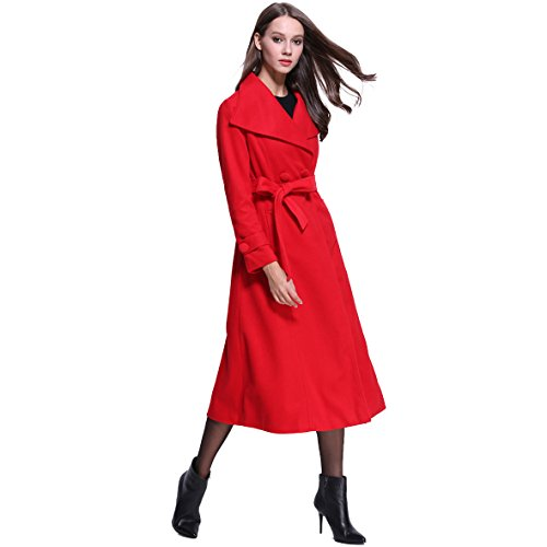 Women Lapel Long Trench Coat Wool Jacket Cardigan (XL, Red)