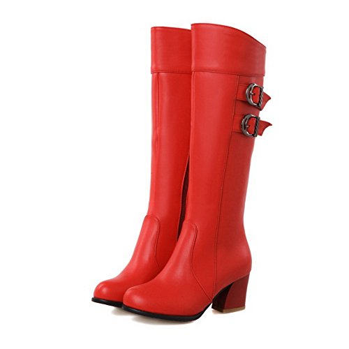 Toe Boots Heels Closed Kitten Women's Allhqfashion Solid Round PU Red Zipper 8ZUaf