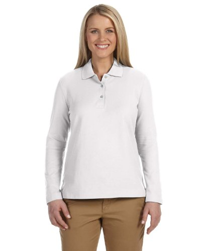 Devon & Jones Womens Pima Pique Long-Sleeve Polo (D110W) -White -XL