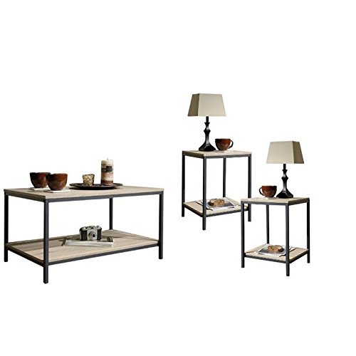 Home Square 3 Piece Coffee Table Set with Coffee Table and Set of 2 End Tables in Charter Oak