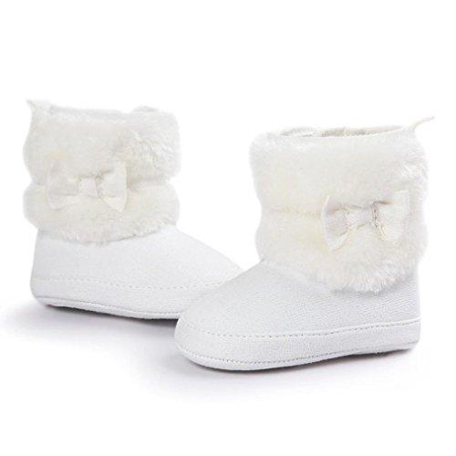 Hunpta Lauflernschuhe Kinderschuhe Baby Schneestiefel Bowknot halten warme weiche Sohle weiche Krippe Schuhe Kleinkind Stiefel Weiß
