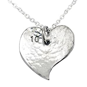 10th Year Anniversary Heart Necklace - Traditional Tin 10th Anniversary Gift