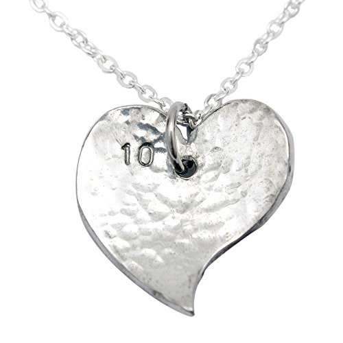 Pirantin 10th Year Anniversary Heart Necklace - Traditional Tin 10th (Anniversary Gift Tin)