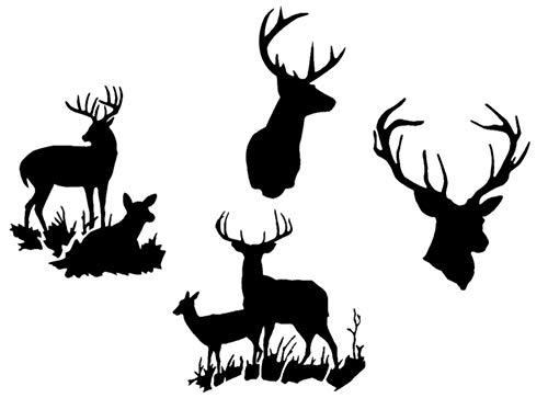 Deer Buck Hunting Decals: Deer Heads, Doe Laying, Doe Standing (Buck Style Two Black)