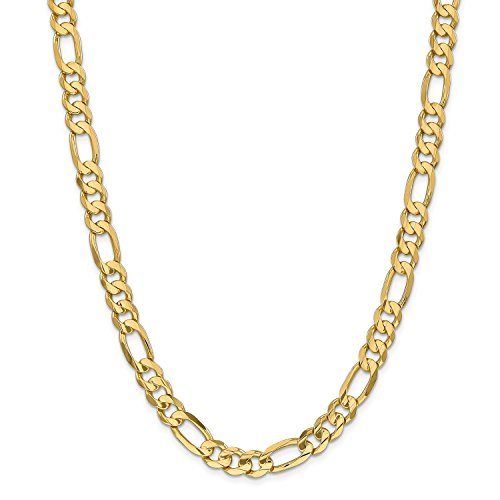 24' Open Link Necklace (Roy Rose Jewelry 14K Yellow Gold 8.75mm Concave Open Figaro Link Chain Necklace ~ Length 24'' inches)