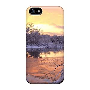 SaladCases Scratch-free Phone Case For Iphone 5/5s- Retail Packaging - Golden Sunset In Snowy Forest