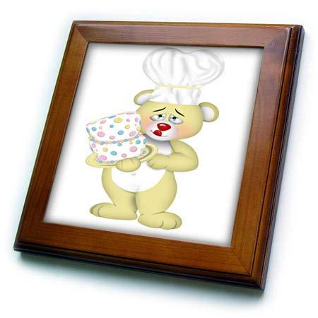 3dRose Anne Marie Baugh - Illustrations - Cute Yellow Baker Bear with A Cake Illustration - 8x8 Framed Tile (ft_317967_1)