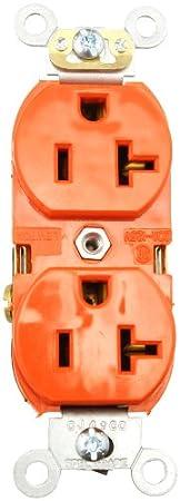 125 Volt Orange Industrial Heavy Duty Grade Duplex Receptacle Straight Blade Self Grounding Leviton 5362-SO 20-Amp Contractor Pack