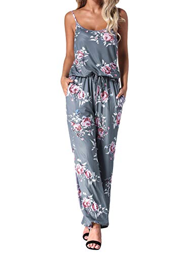 Auxo Women Floral Jumpsuit Sleeveless Strappy Loose Waist Casual Playsuit Summer Long Pants Romper