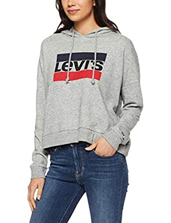 Levi's Women's Graphic Track Hoodie Sportswear Logo, Simple Life, L - Blue