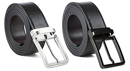 2 Pack- 100% Leather Dress Belt Grade A Genuine Italian Leather Reversible,Black/Brown Strap Silver Buckle,Small (Large - (36-38), 2 Pack Black/ Silver)